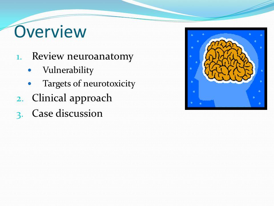 Overview 1.Review neuroanatomy Vulnerability Targets of neurotoxicity 2.