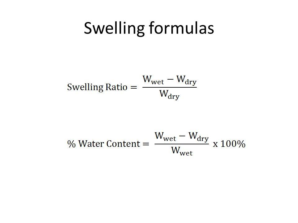Swelling formulas
