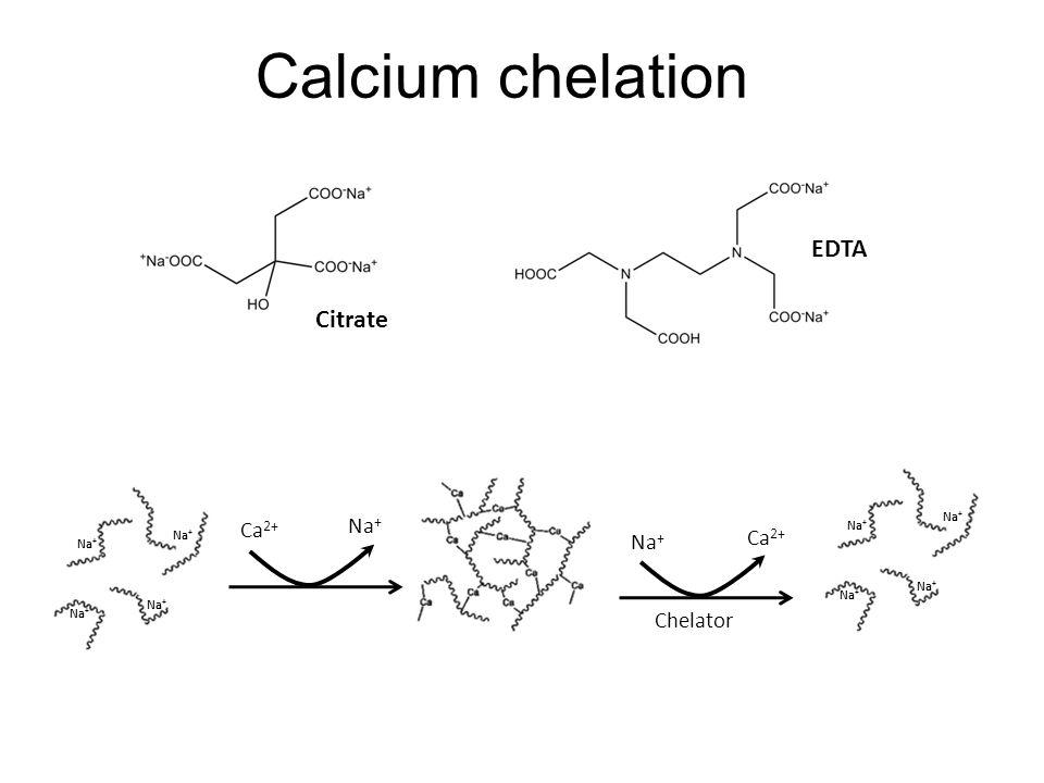 Calcium chelation Citrate EDTA Na + Ca 2+ Na + Ca 2+ Chelator