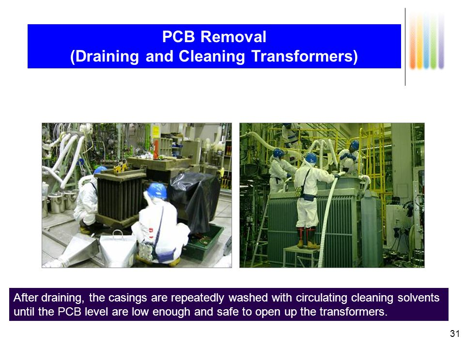 31 PCB Removal (Draining and Cleaning Transformers) PCB oil of transformers are drained from the drain valve on the bottom.