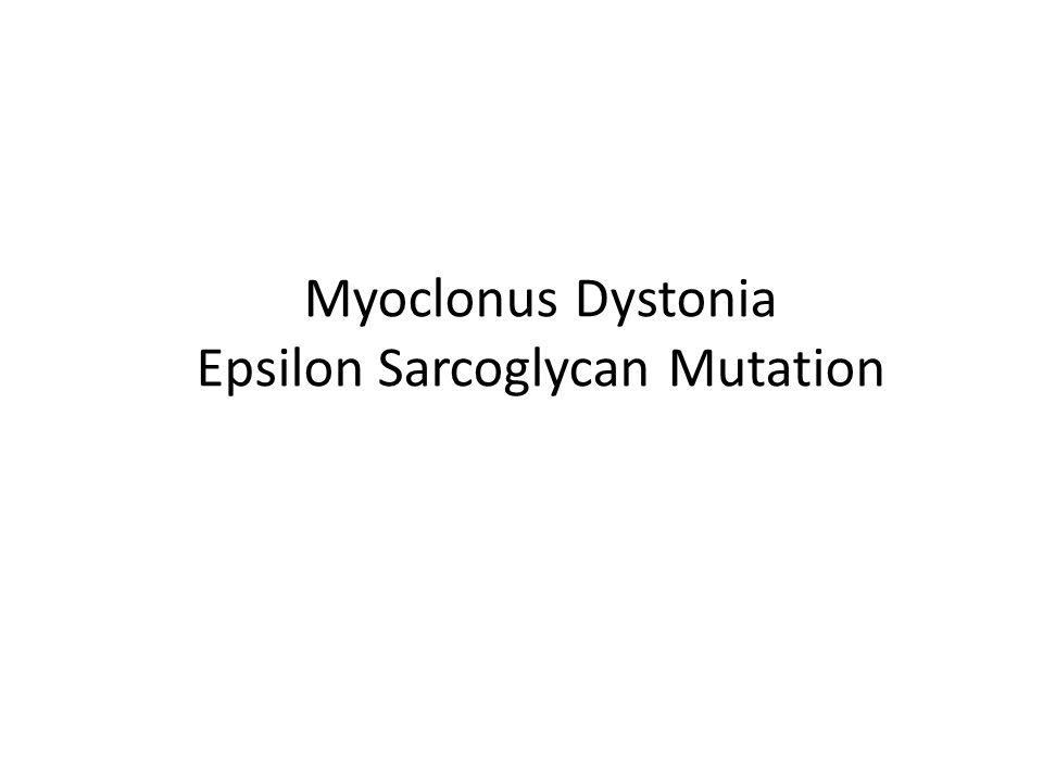 Myoclonus Dystonia Epsilon Sarcoglycan Mutation
