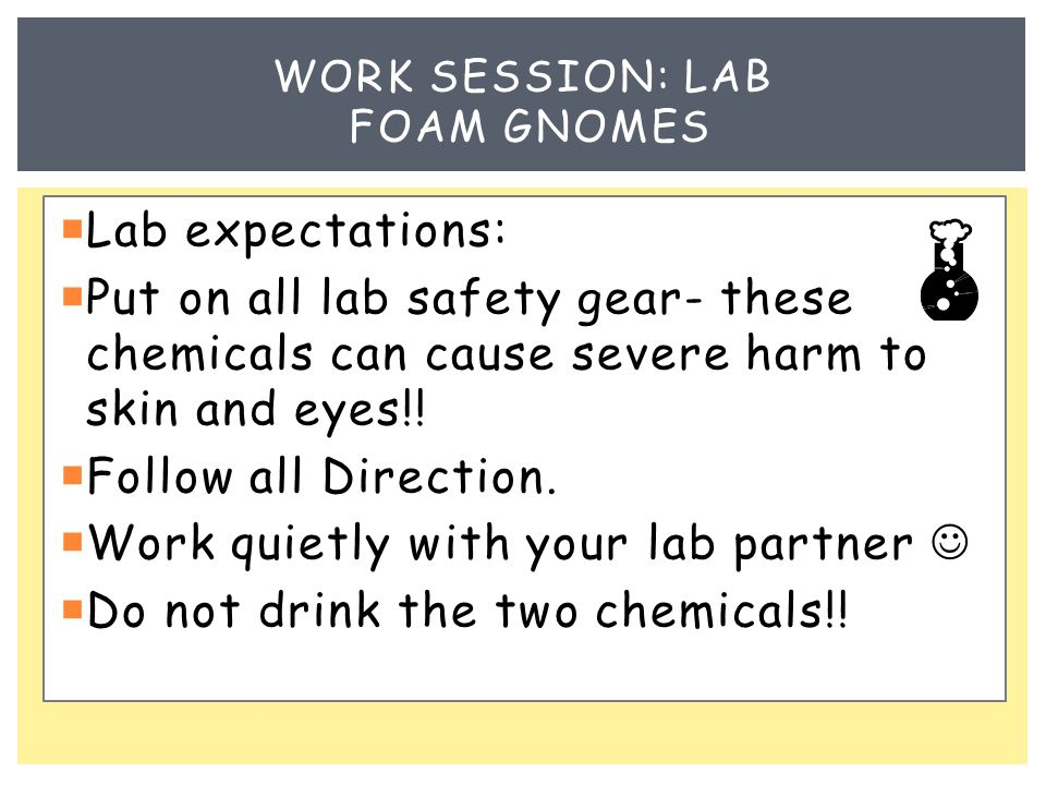  Lab expectations:  Put on all lab safety gear- these chemicals can cause severe harm to skin and eyes!.