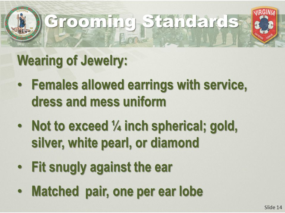 Slide 14 Wearing of Jewelry: Females allowed earrings with service, dress and mess uniform Females allowed earrings with service, dress and mess uniform Not to exceed ¼ inch spherical; gold, silver, white pearl, or diamond Not to exceed ¼ inch spherical; gold, silver, white pearl, or diamond Fit snugly against the ear Fit snugly against the ear Matched pair, one per ear lobe Matched pair, one per ear lobe Grooming Standards