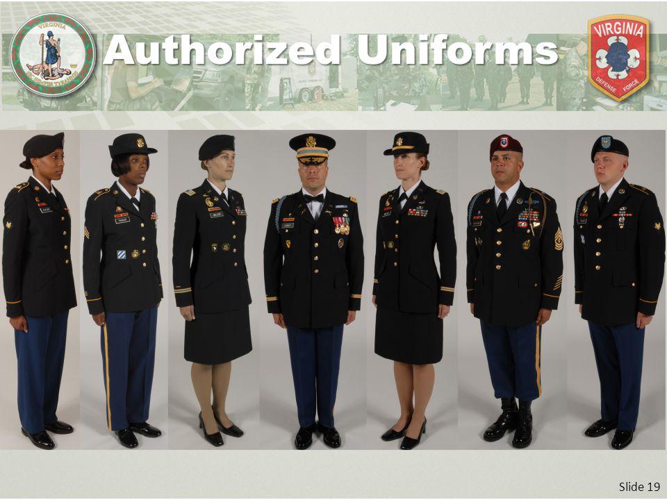 Slide 19 Authorized Uniforms
