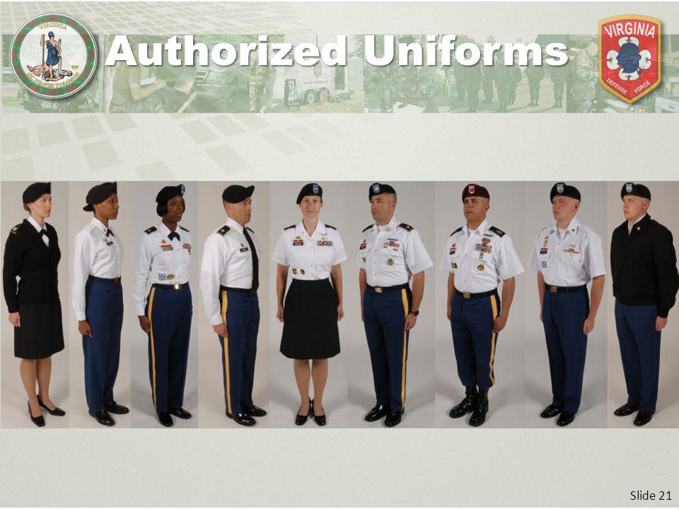 Slide 21 Authorized Uniforms