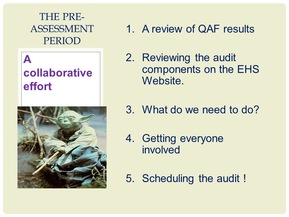 1.A review of QAF results 2.Reviewing the audit components on the EHS Website.