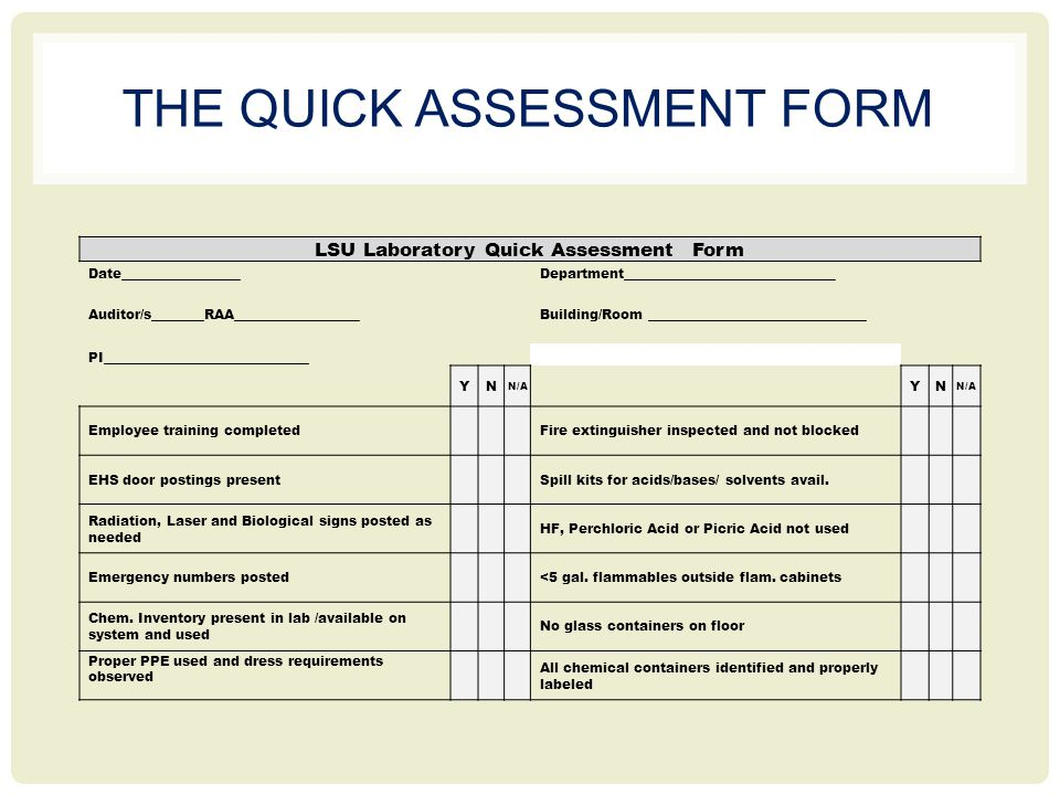 THE QUICK ASSESSMENT FORM LSU Laboratory Quick Assessment Form Date__________________Department________________________________ Auditor/s________RAA___________________Building/Room _________________________________ PI_______________________________ YN N/A YN Employee training completed Fire extinguisher inspected and not blocked EHS door postings present Spill kits for acids/bases/ solvents avail.