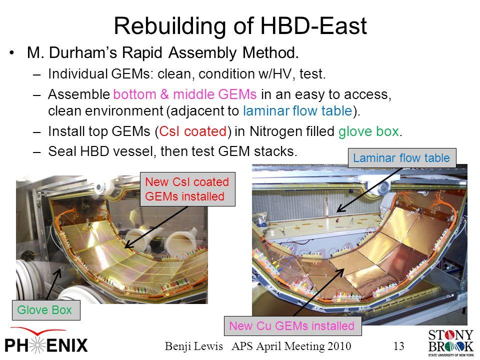 Benji Lewis APS April Meeting 201013 Rebuilding of HBD-East M.