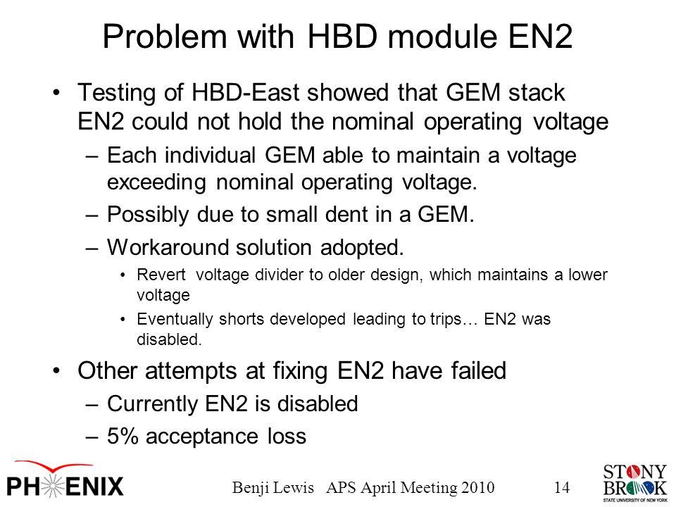 Benji Lewis APS April Meeting 201014 Problem with HBD module EN2 Testing of HBD-East showed that GEM stack EN2 could not hold the nominal operating vo