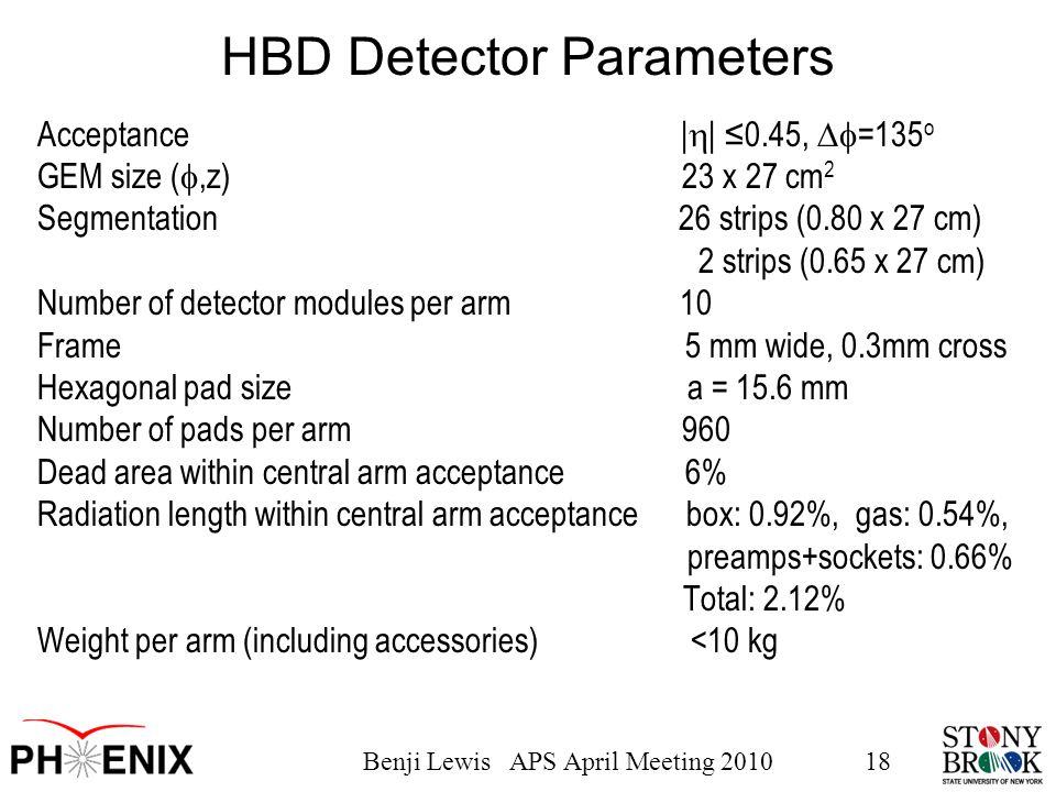 Benji Lewis APS April Meeting 201018 HBD Detector Parameters Acceptance |  | ≤0.45,  =135 o GEM size ( ,z) 23 x 27 cm 2 Segmentation 26 strips (0.