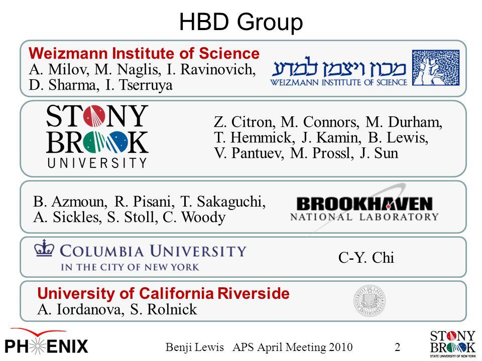 Benji Lewis APS April Meeting 20102 HBD Group Weizmann Institute of Science A. Milov, M. Naglis, I. Ravinovich, D. Sharma, I. Tserruya Z. Citron, M. C