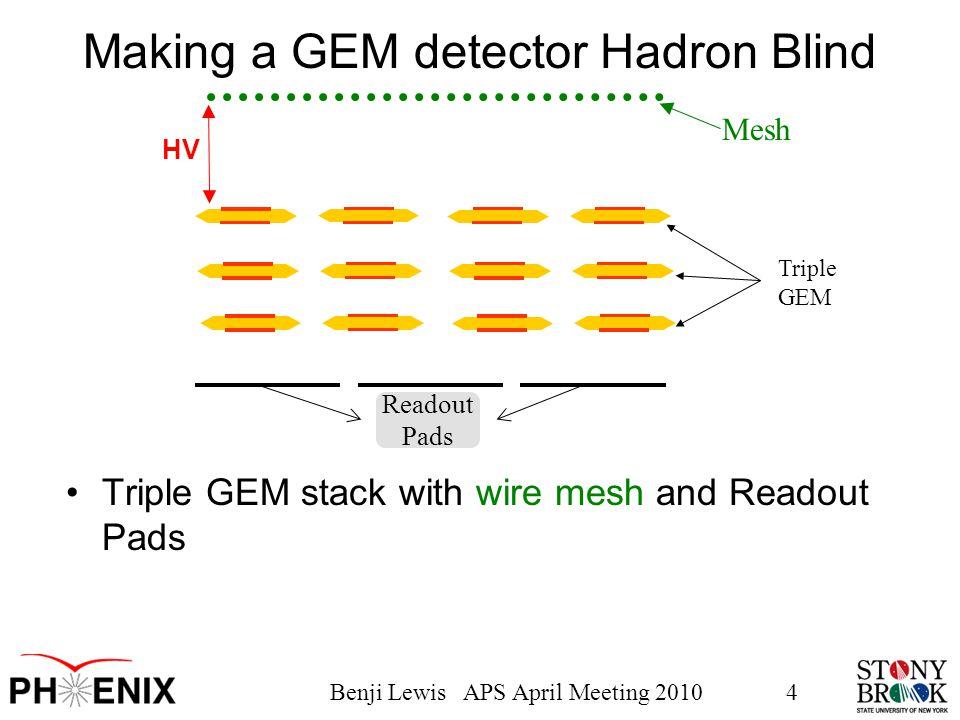 Benji Lewis APS April Meeting 20104 Triple GEM Readout Pads Making a GEM detector Hadron Blind Triple GEM stack with wire mesh and Readout Pads Mesh HV