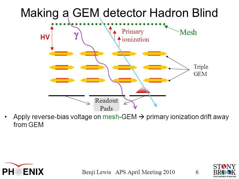 Benji Lewis APS April Meeting 20106 Triple GEM Readout Pads Making a GEM detector Hadron Blind Apply reverse-bias voltage on mesh-GEM  primary ionization drift away from GEM HV Mesh  Primary ionization