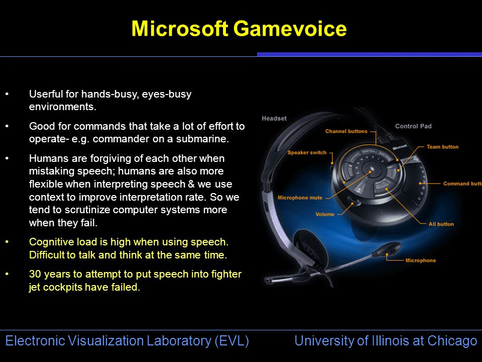 University of Illinois at Chicago Electronic Visualization Laboratory (EVL) Microsoft Gamevoice Userful for hands-busy, eyes-busy environments.