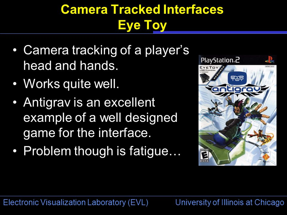 University of Illinois at Chicago Electronic Visualization Laboratory (EVL) Camera Tracked Interfaces Eye Toy Camera tracking of a player's head and hands.