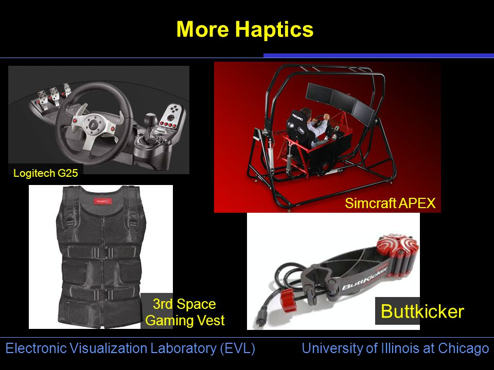 University of Illinois at Chicago Electronic Visualization Laboratory (EVL) More Haptics Logitech G25 Buttkicker 3rd Space Gaming Vest Simcraft APEX