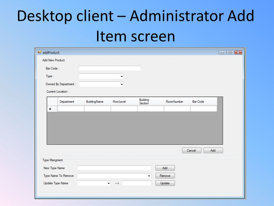 Desktop client – Administrator Add Item screen