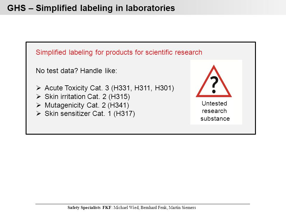 Simplified labeling for products for scientific research No test data.