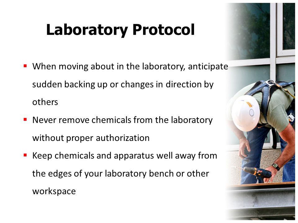 Laboratory Protocol  When moving about in the laboratory, anticipate sudden backing up or changes in direction by others  Never remove chemicals fro