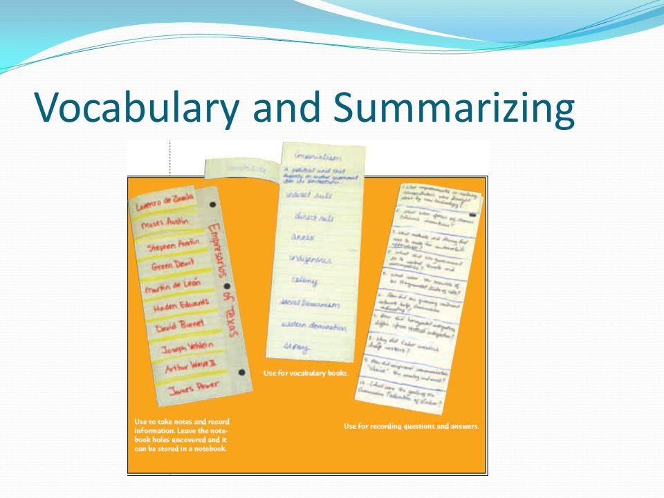 Vocabulary and Summarizing