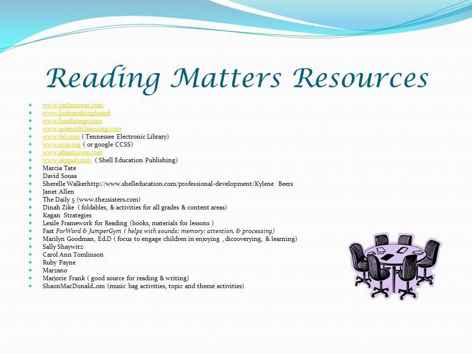 Reading Matters Resources www.carlscorner.com www.hubbardscupboard www.heidisongs.com www.scientificlearning.com www.tel.com ( Tennessee Electronic Library) www.tel.com www.ccss.org ( or google CCSS) www.ccss.org www.ahaprocess.com www.seppub.com ( Shell Education Publishing) www.seppub.com Marcia Tate David Sousa Sherelle Walkerhttp://www.shelleducation.com/professional-development/Kylene Beers Janet Allen The Daily 5 (www.the2sisters.com) Dinah Zike ( foldables, & activities for all grades & content areas) Kagan Strategies Lexile Framework for Reading (books, materials for lessons ) Fast ForWord & JumperGym ( helps with sounds; memory; attention, & processing) Marilyn Goodman, Ed.D ( focus to engage children in enjoying, dico0verying, & learning) Sally Shaywitz Carol Ann Tomlinson Ruby Payne Marzano Marjorie Frank ( good source for reading & writing) ShaonMacDonald..om (music bag activities, topic and theme activities)