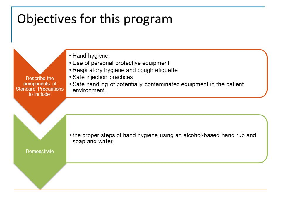 Summary This program has introduced you to the importance and use of hand hygiene and standard precautions.