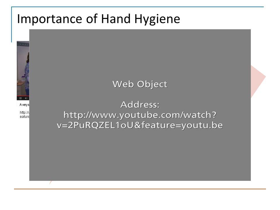 Importance of Hand Hygiene HAND HYGIENE is IMPORTANT Hand hygiene is one aspect of Standard Precautions http://www.youtube.com/watch?v=2PuRQZEL1oU&f e