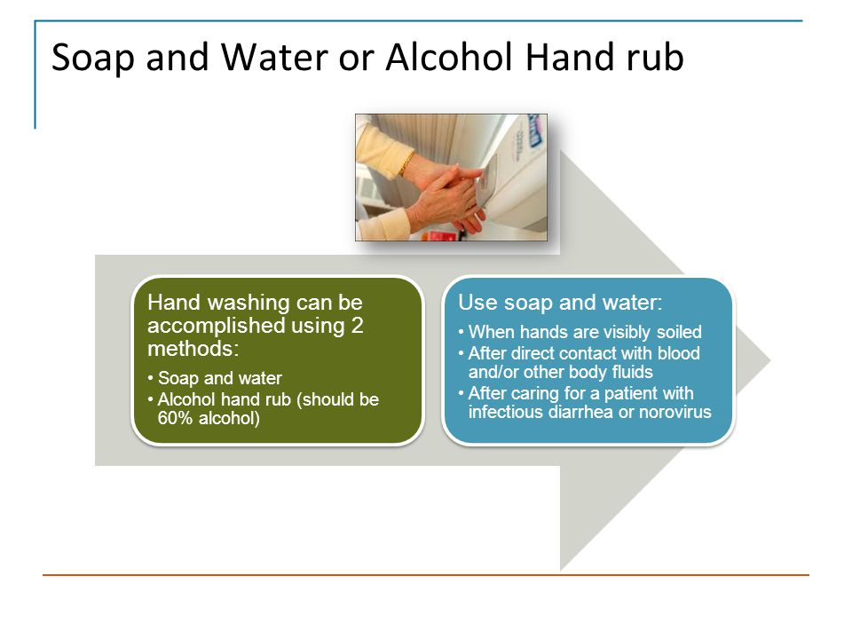 Skill: Handwashing with Alcohol Hand rub Dispense an ample amount of product into the palm of one hand.