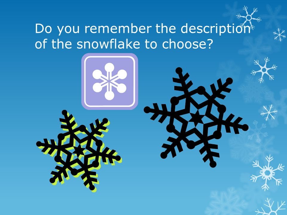 Do you remember the description of the snowflake to choose?