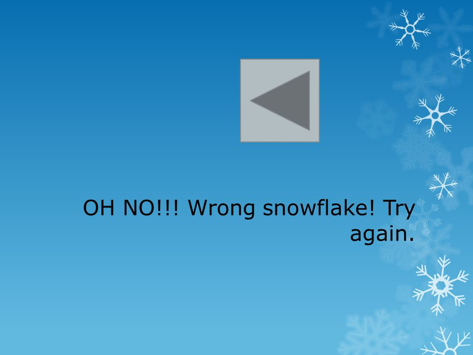 OH NO!!! Wrong snowflake! Try again.
