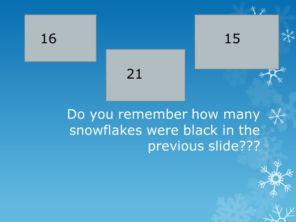 Do you remember how many snowflakes were black in the previous slide 15 21 16