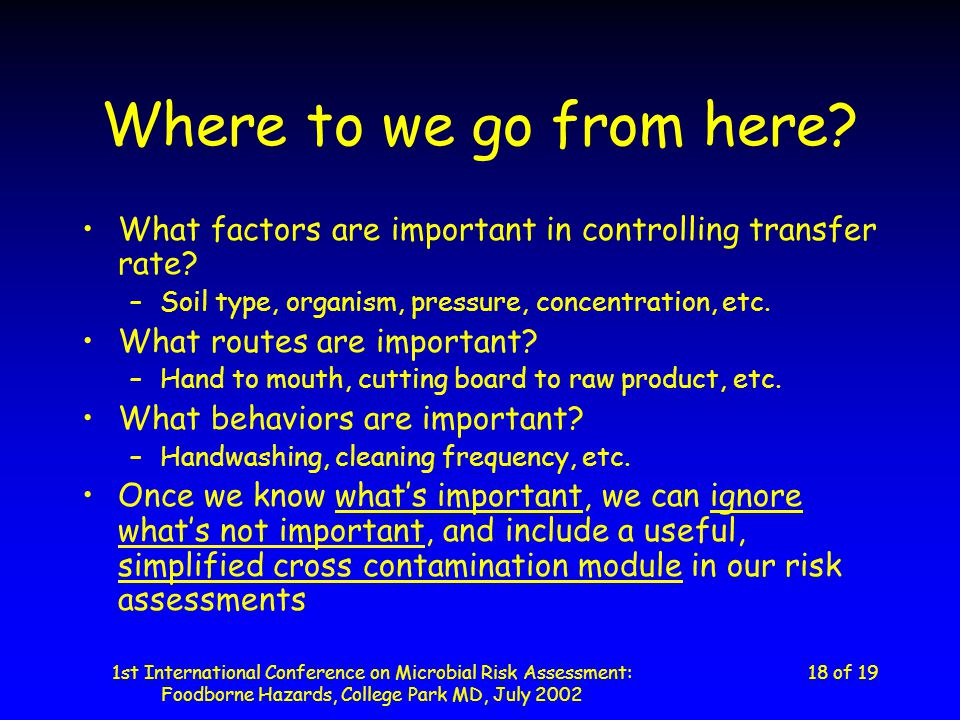 1st International Conference on Microbial Risk Assessment: Foodborne Hazards, College Park MD, July 2002 18 of 19 Where to we go from here.