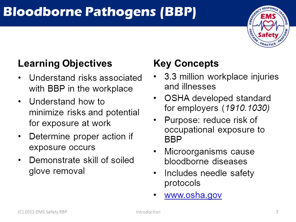 Bloodborne Pathogens (BBP) Learning Objectives Understand risks associated with BBP in the workplace Understand how to minimize risks and potential for exposure at work Determine proper action if exposure occurs Demonstrate skill of soiled glove removal Key Concepts 3.3 million workplace injuries and illnesses OSHA developed standard for employers (1910.1030) Purpose: reduce risk of occupational exposure to BBP Microorganisms cause bloodborne diseases Includes needle safety protocols www.osha.gov (C) 2011 EMS Safety BBPIntroduction3