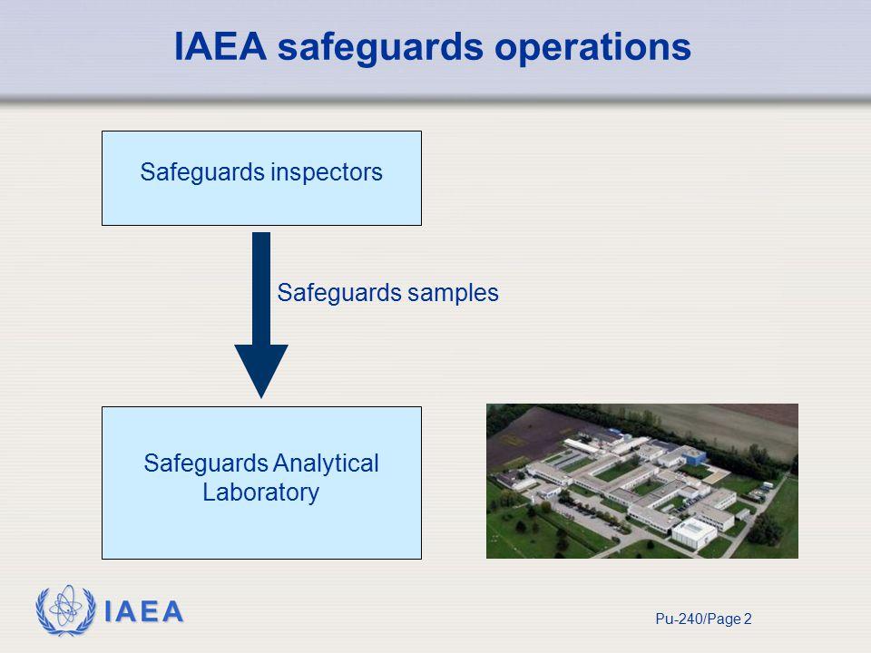 IAEA Pu-240/Page 2 Safeguards inspectors Safeguards samples Safeguards Analytical Laboratory IAEA safeguards operations