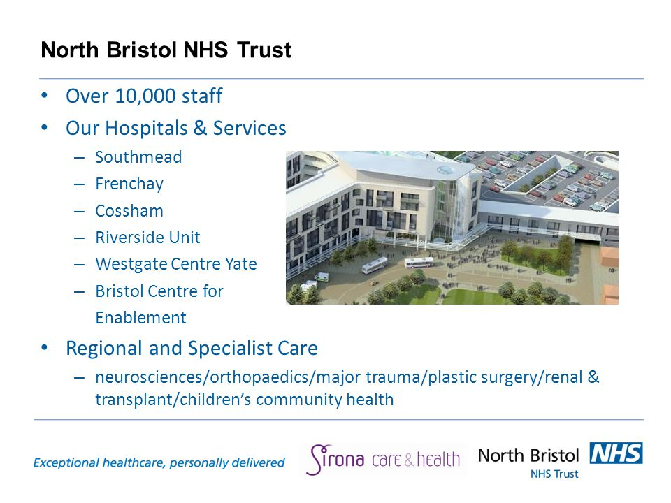 North Bristol NHS Trust Over 10,000 staff Our Hospitals & Services – Southmead – Frenchay – Cossham – Riverside Unit – Westgate Centre Yate – Bristol Centre for Enablement Regional and Specialist Care – neurosciences/orthopaedics/major trauma/plastic surgery/renal & transplant/children's community health