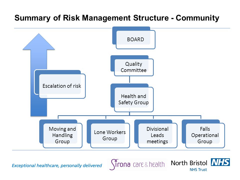 Summary of Risk Management Structure - Community BOARD Quality Committee Health and Safety Group Moving and Handling Group Lone Workers Group Divisional Leads meetings Falls Operational Group Escalation of risk