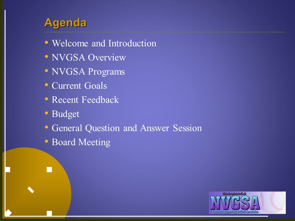 Agenda Welcome and Introduction NVGSA Overview NVGSA Programs Current Goals Recent Feedback Budget General Question and Answer Session Board Meeting
