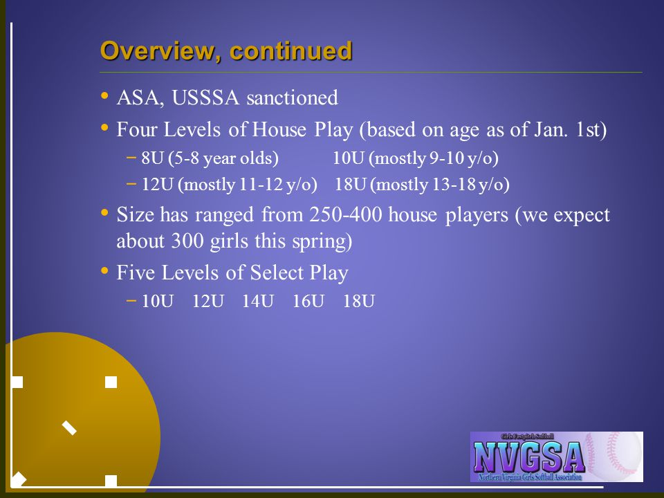 Overview, continued ASA, USSSA sanctioned Four Levels of House Play (based on age as of Jan.