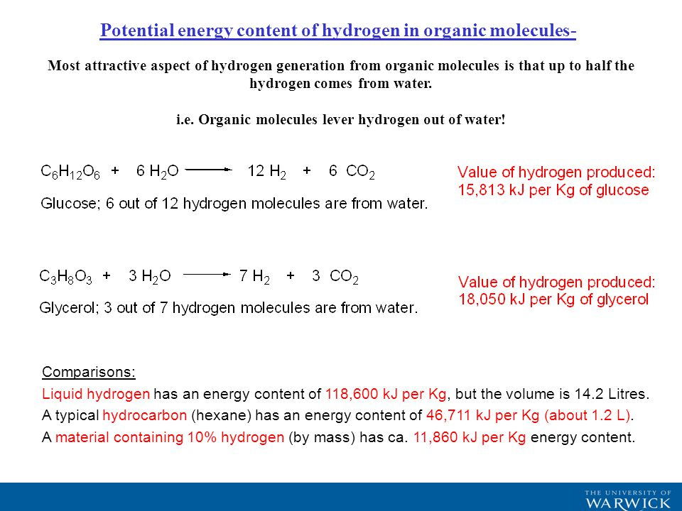 Studies are being extended to hydrogen generation from alcohols.