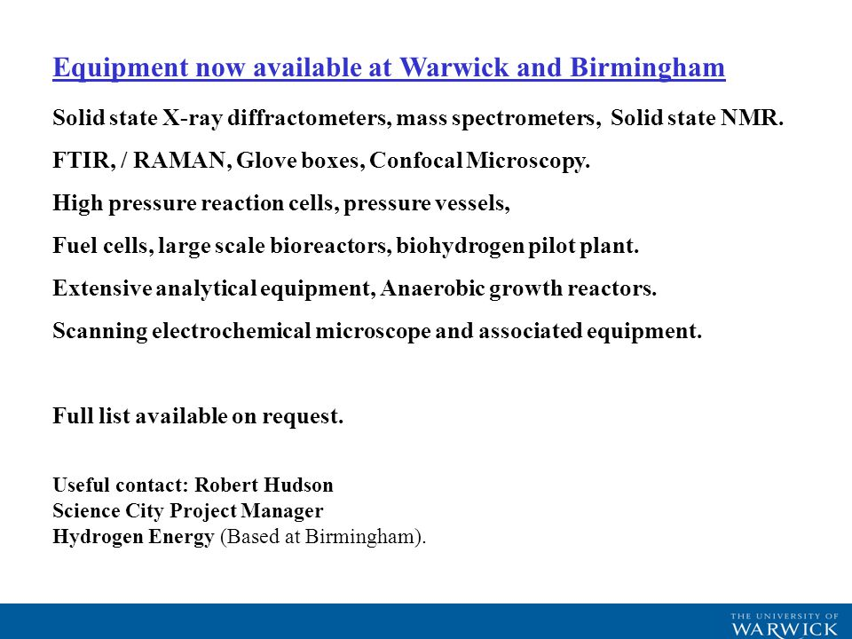 Equipment now available at Warwick and Birmingham Solid state X-ray diffractometers, mass spectrometers, Solid state NMR.