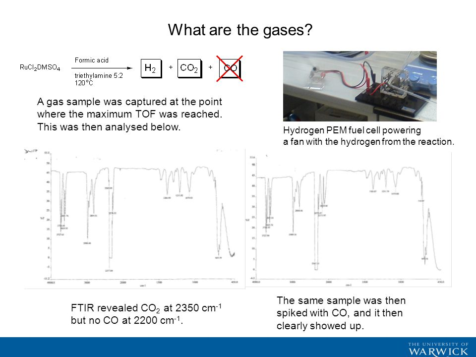 What are the gases. FTIR revealed CO 2 at 2350 cm -1 but no CO at 2200 cm -1.