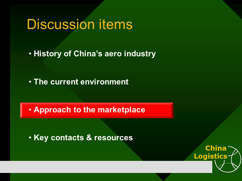 Discussion items History of China's aero industry The current environment Approach to the marketplace Key contacts & resources China Logistics