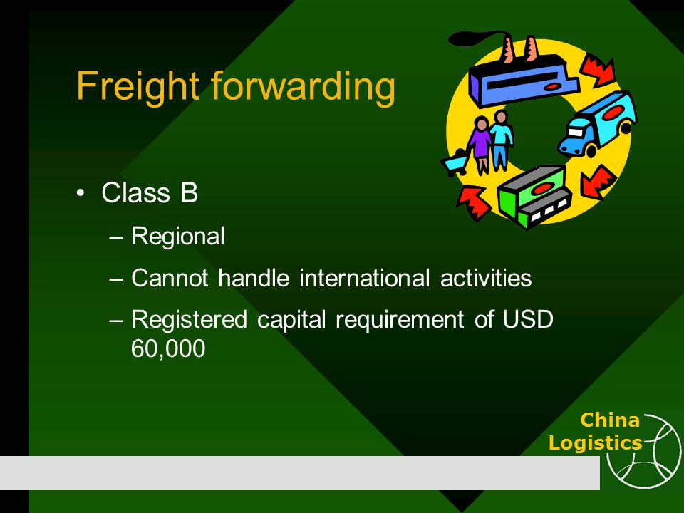 Freight forwarding Class B –Regional –Cannot handle international activities –Registered capital requirement of USD 60,000 China Logistics