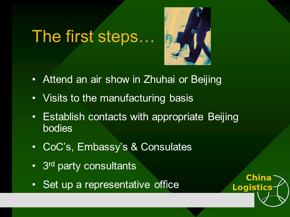 The first steps… Attend an air show in Zhuhai or Beijing Visits to the manufacturing basis Establish contacts with appropriate Beijing bodies CoC's, E