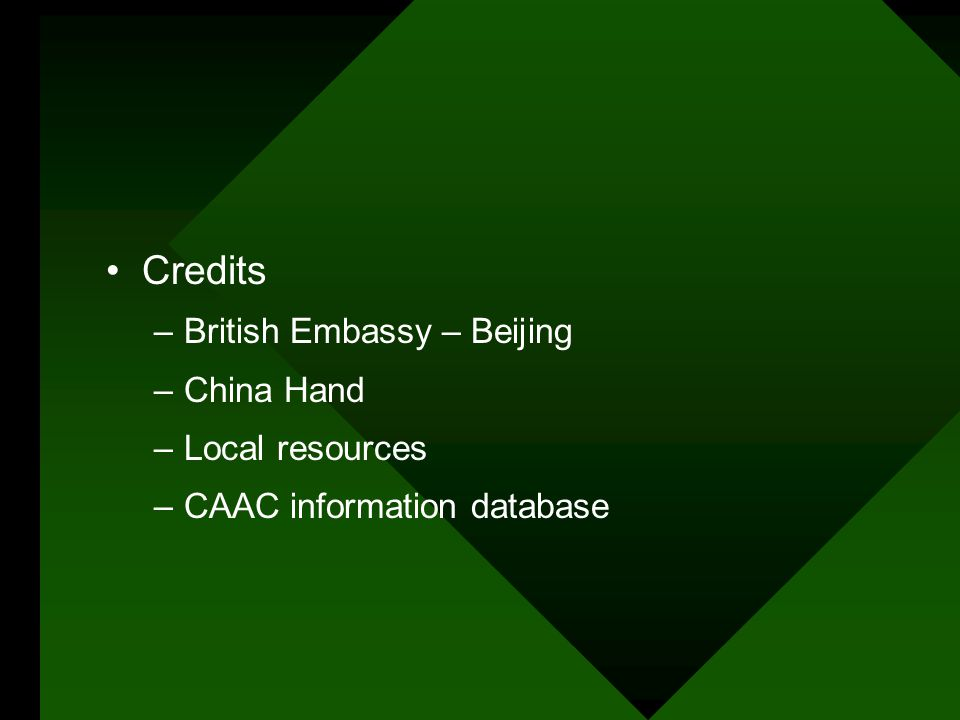Credits –British Embassy – Beijing –China Hand –Local resources –CAAC information database