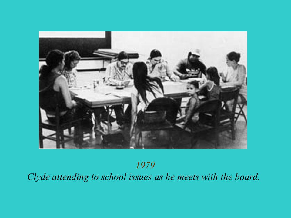 1979 Clyde attending to school issues as he meets with the board.