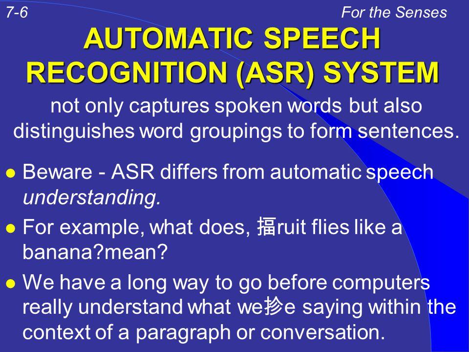 STEPS IN ASR 1.