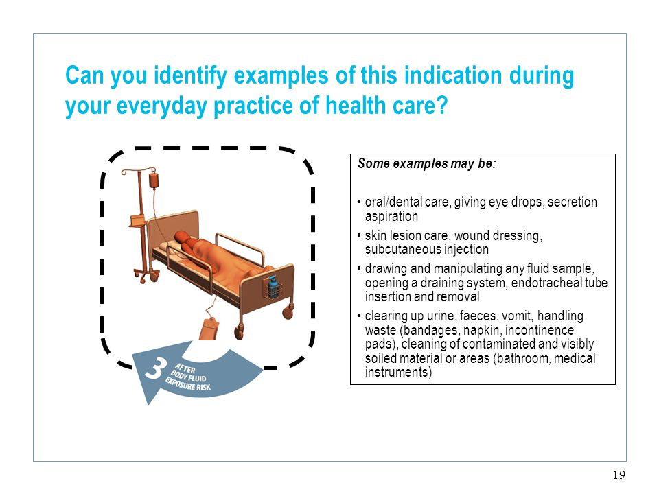 19 Can you identify examples of this indication during your everyday practice of health care.