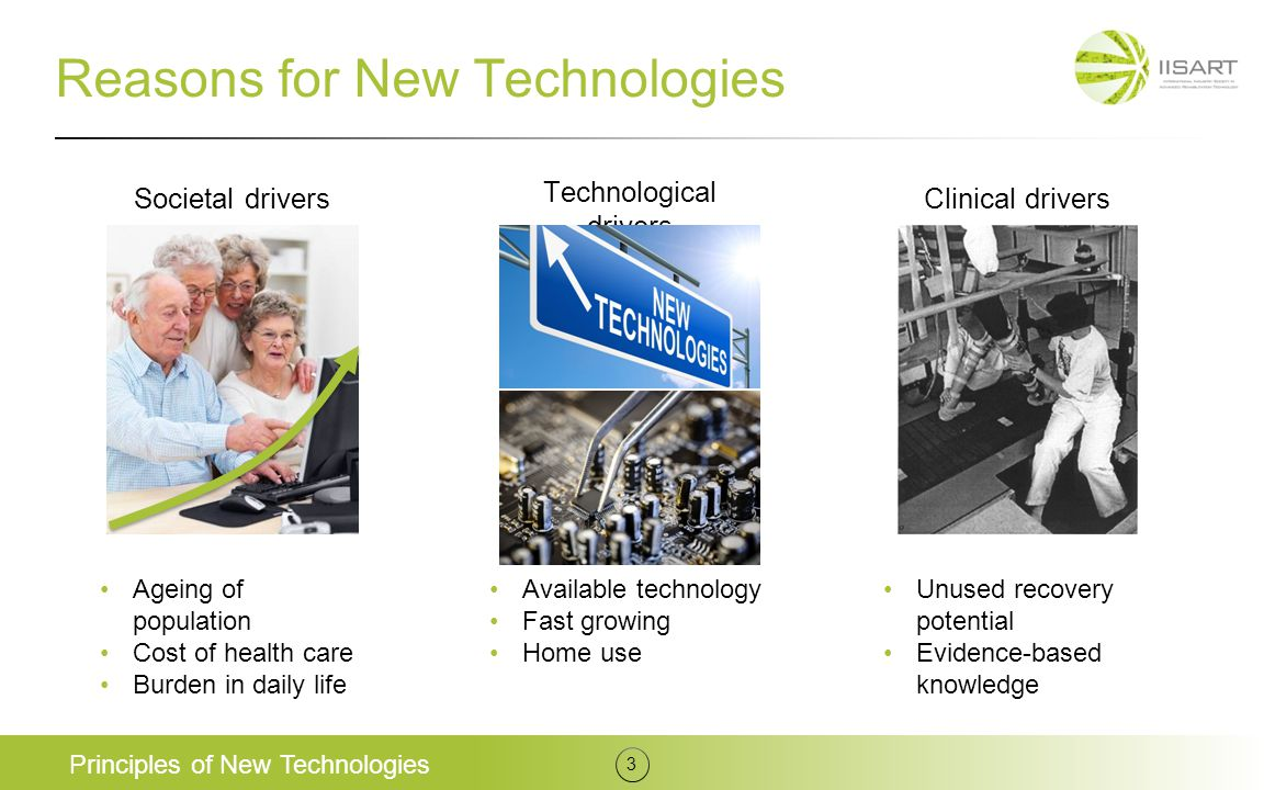 Societal drivers Reasons for New Technologies Principles of New Technologies 3 Technological drivers Clinical drivers Ageing of population Cost of hea