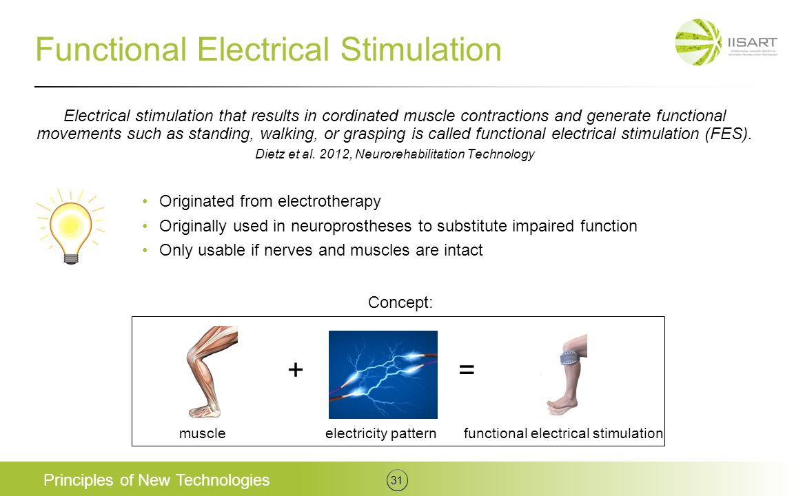 Functional Electrical Stimulation Originated from electrotherapy Originally used in neuroprostheses to substitute impaired function Only usable if ner